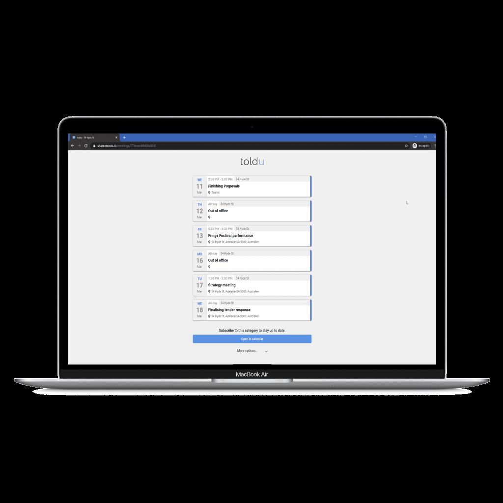 Notebook showing toldu contextual calendar web view